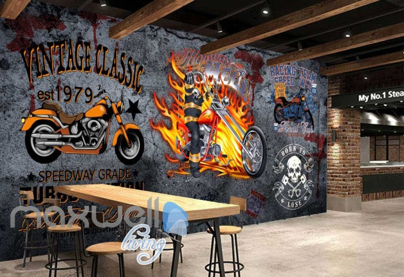 3D Graffiti Vintage Classic Speedway Wall Murals Wallpaper Decals Prints Decor IDCWP-TY-000278