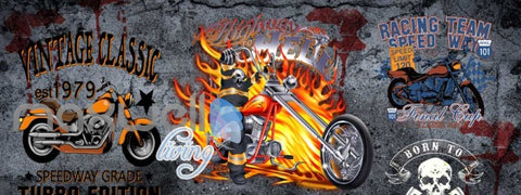 Image of 3D Graffiti Vintage Classic Speedway Wall Murals Wallpaper Decals Prints Decor IDCWP-TY-000278