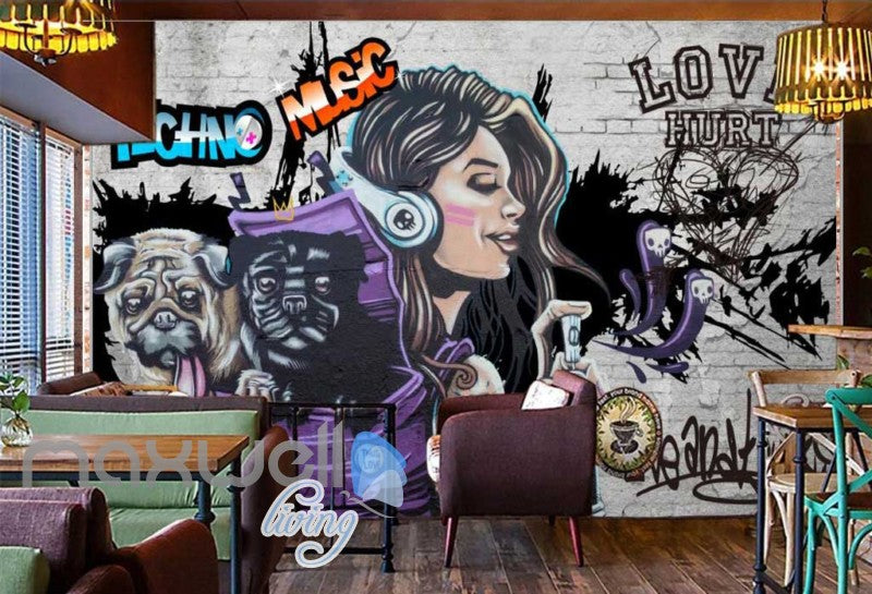3D Graffiti Techno Music Dog Street Art Wall Murals Wallpaper Decals Print Decor IDCWP-TY-000280