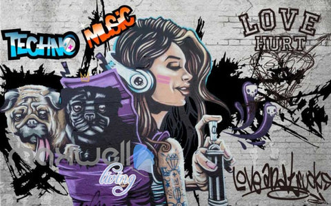 Image of 3D Graffiti Techno Music Dog Street Art Wall Murals Wallpaper Decals Print Decor IDCWP-TY-000280
