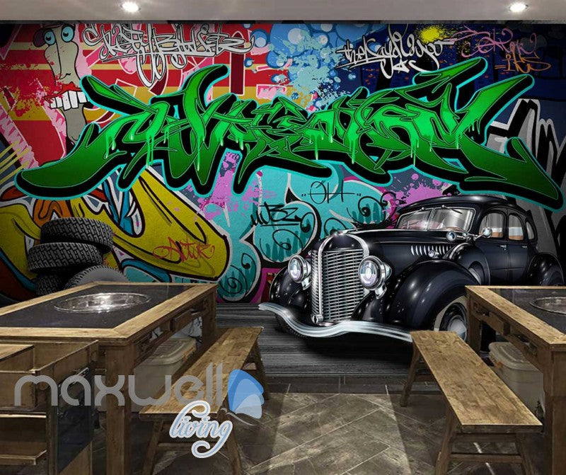 3D Graffiti Vintage Car Abstract Street Wall Murals Wallpaper Decals Print Decor IDCWP TY