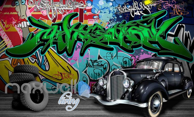 3D Graffiti Vintage Car Abstract Street Wall Murals Wallpaper Decals Print Decor IDCWP-TY-000286