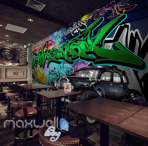 Image of 3D Graffiti Vintage Car Abstract Street Wall Murals Wallpaper Decals Print Decor IDCWP-TY-000286