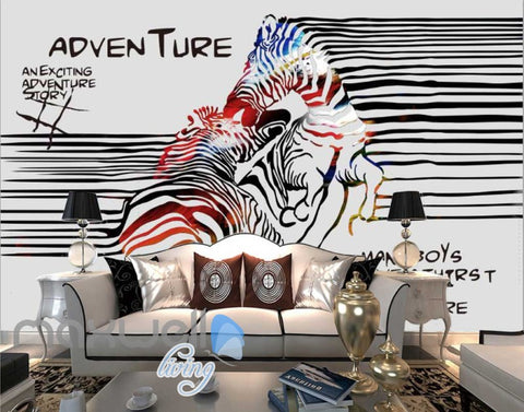 Image of 3D Graffiti Stripe Zebra Lover Art Wall Murals Wallpaper Decals Prints Decor IDCWP-TY-000293