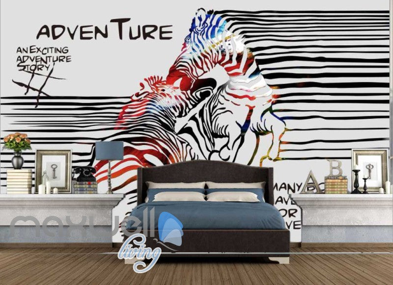 3D Graffiti Stripe Zebra Lover Art Wall Murals Wallpaper Decals Prints Decor IDCWP-TY-000293