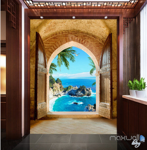 Image of 3D Beach Island Palm Tree Arch Entrance Wall Decal Home Gift 001
