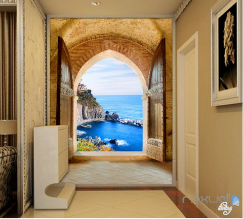 Image of 3D Beach Island Ocean Arch Entrance Wall Decal Home Gift 002