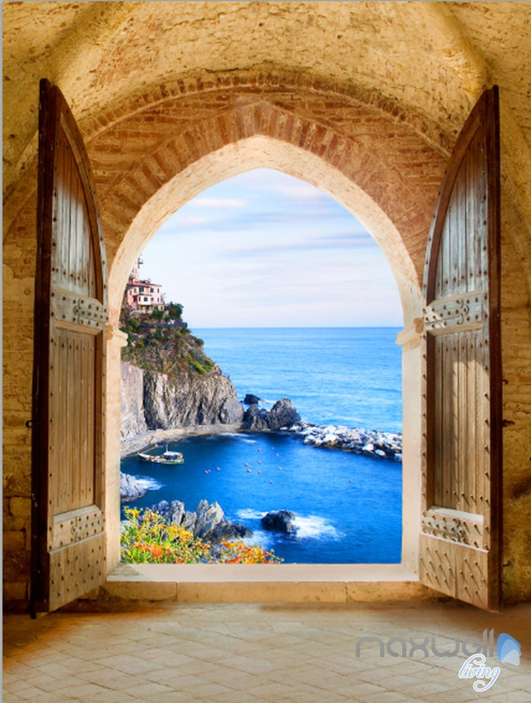 3D Beach Island Ocean Arch Entrance Wall Decal Home Gift 002