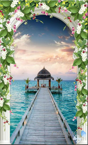 Image of 3D Pier Sea Jetty Arch Flower Vine Entrance Wall Decal Mural Art Prints 003