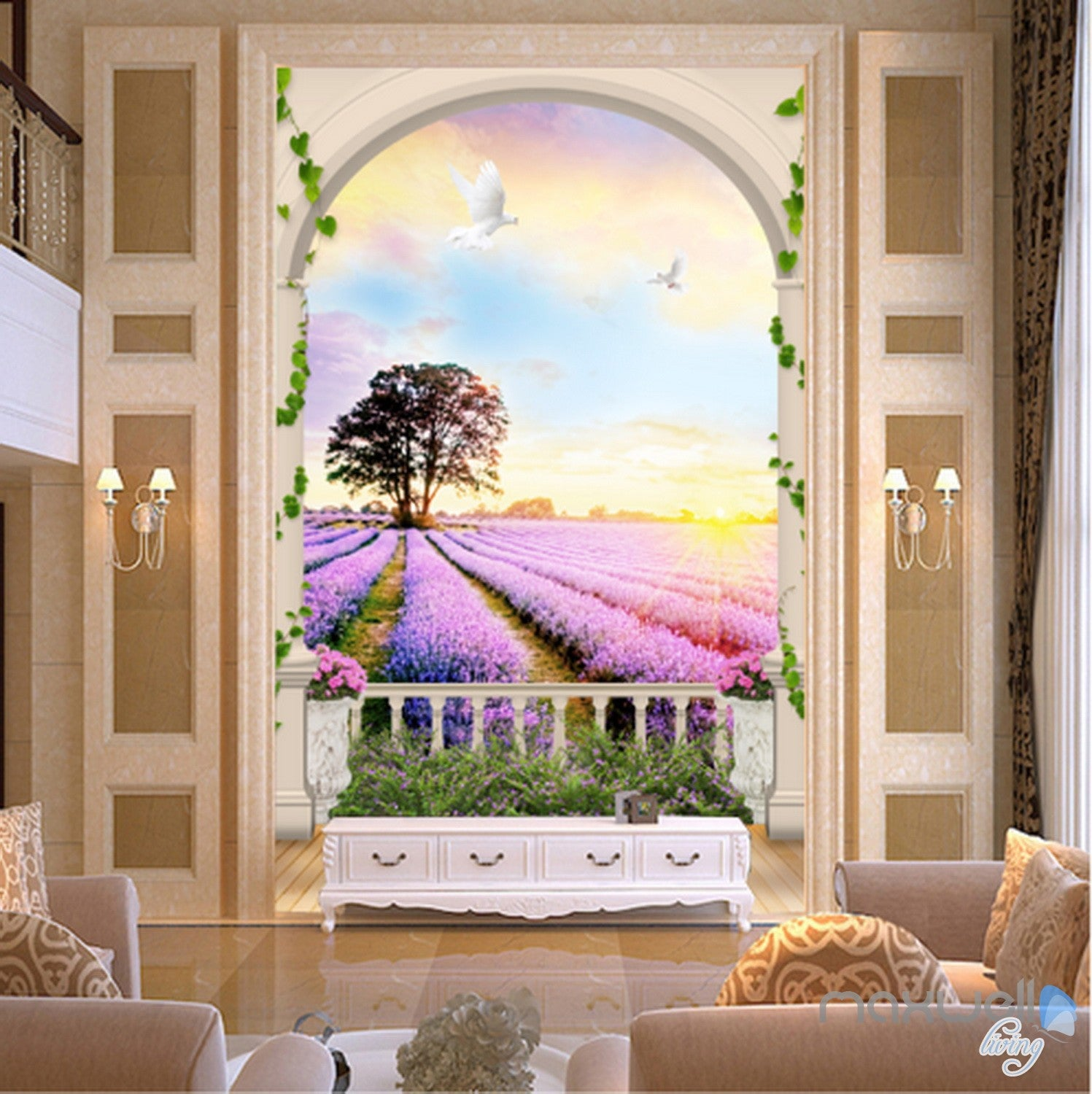 Wallpaper Decals: 3D Arch Lavender Field Tree Sunrise Entrance Wall Mural
