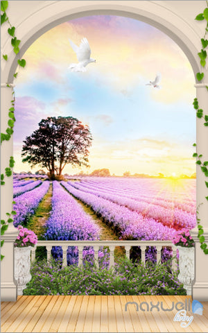 Image of 3D Arch Lavender Field Tree Sunrise Entrance Wall Mural Wallpaper Decal Art Prints 004