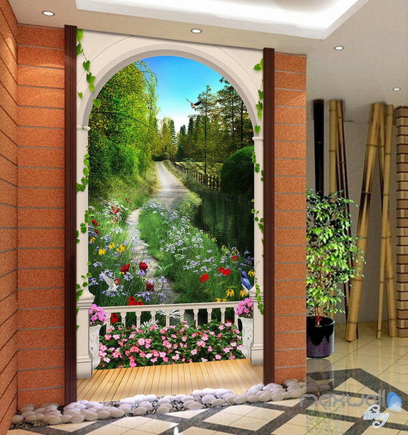 3d arch flower tree lane corridor entrance wall mural for Digital print wallpaper mural