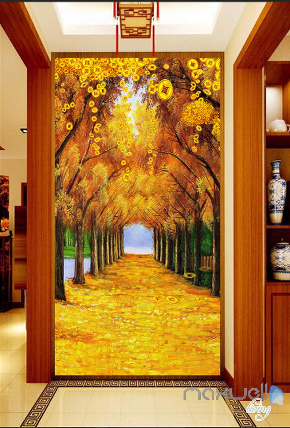 3D Gold Coin Autumn Tree Yellow Leaves Corridor Entrance Wall Mural ...