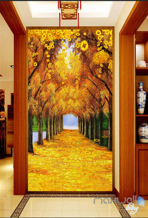3D Gold Coin Autumn Tree Yellow Leaves Corridor Entrance Wall Mural Decals Art Prints Wallpaper 010