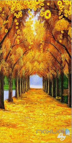 Image of 3D Gold Coin Autumn Tree Yellow Leaves Corridor Entrance Wall Mural Decals Art Prints Wallpaper 010