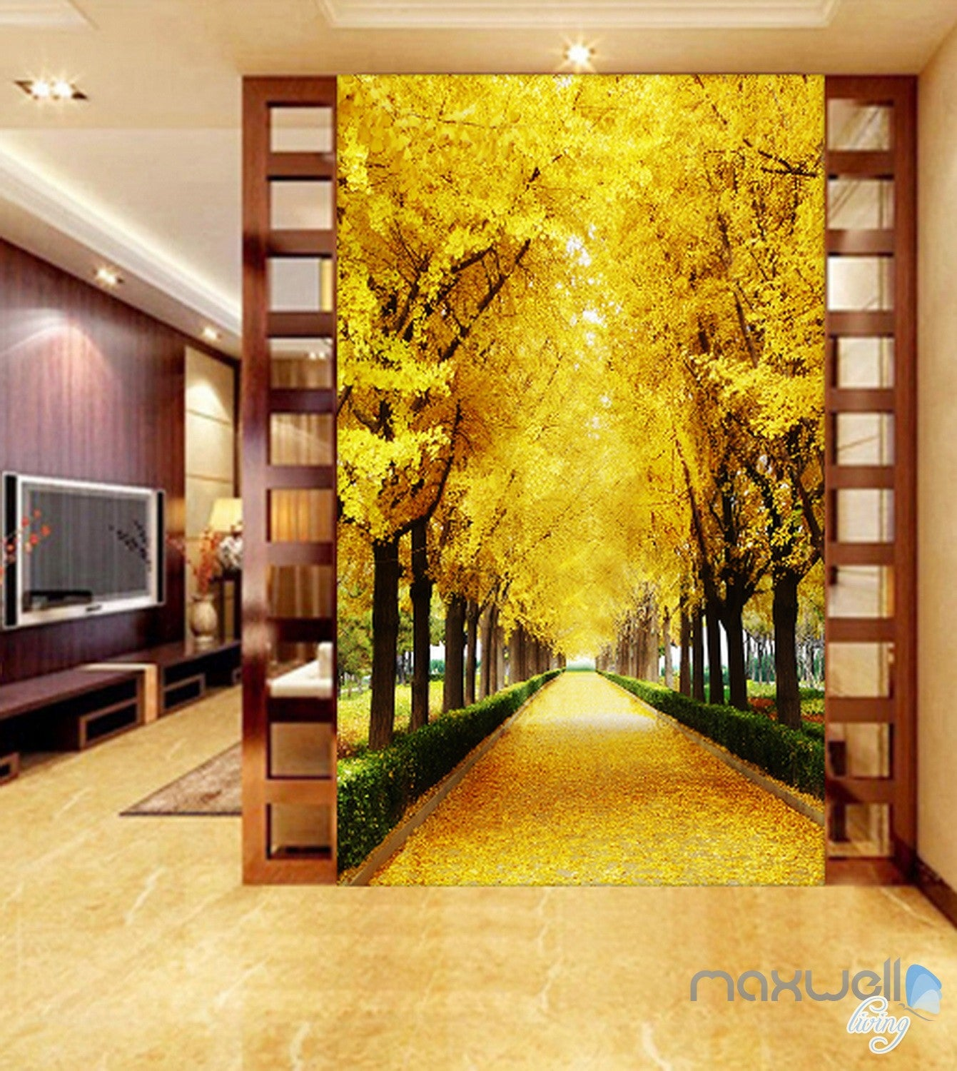 3D Autumn Tree Yellow Leaves Corridor Entrance Wall Mural Decals Art ...