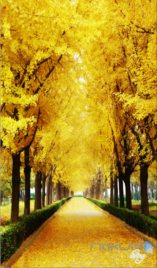 3D Autumn Tree Yellow Leaves Corridor Entrance Wall Mural Decals Art Prints Wallpaper 011