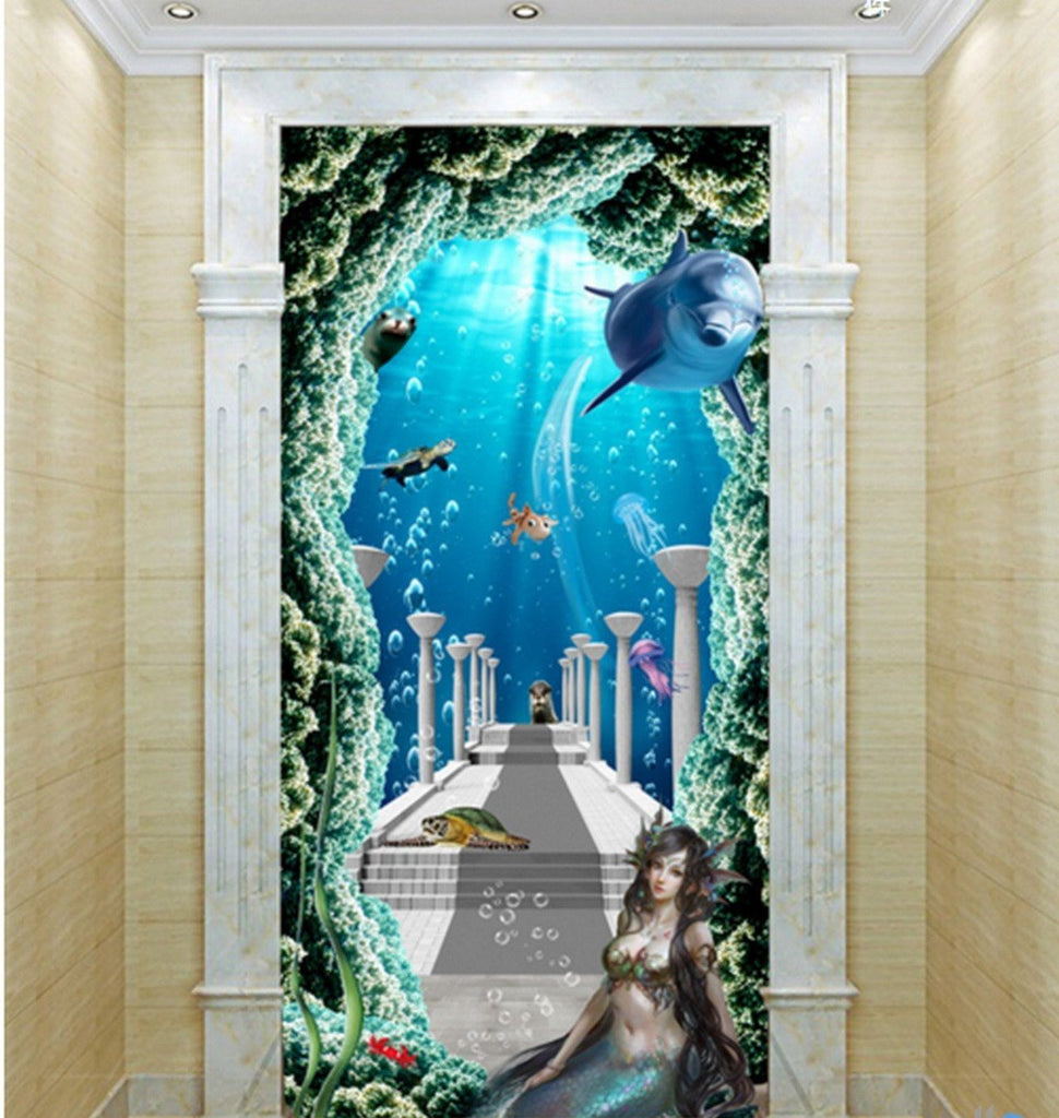 3D Mermaid Sea World Corridor Entrance Wall Mural Decals Art Prints Wallpaper 012