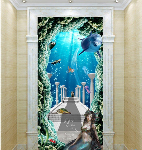 Image of 3D Mermaid Sea World Corridor Entrance Wall Mural Decals Art Prints Wallpaper 012