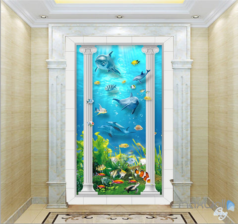 Image of 3D Roman Pillar Dophin Sea World Corridor Entrance Wall Mural Decals Art Prints Wallpaper 013