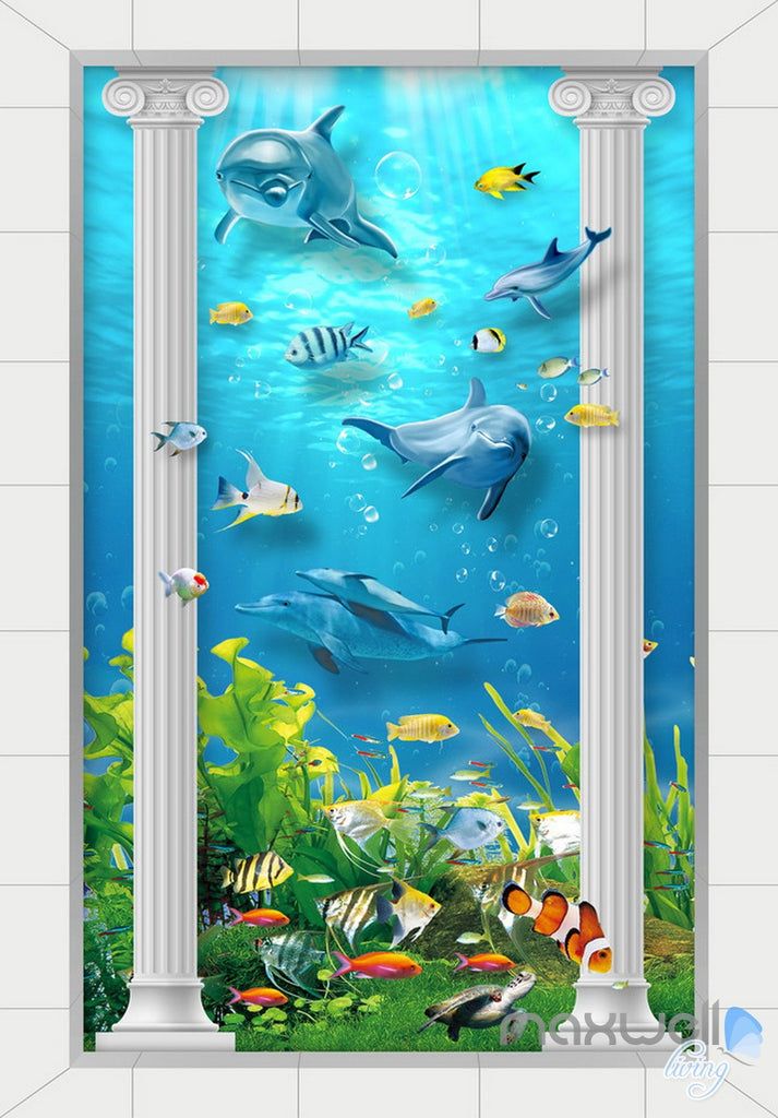 3D Roman Pillar Dophin Sea World Corridor Entrance Wall Mural Decals Art Prints Wallpaper 013