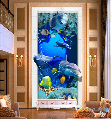 Image of 3D Dophins Fish Under Sea Coral Corridor Entrance Wall Mural Decals Art Prints Wallpaper 014