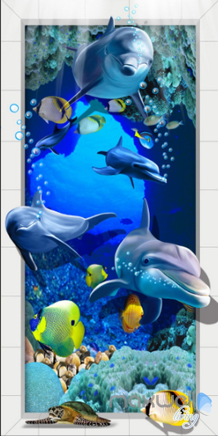 3d dophins fish under sea coral corridor entrance wall mural