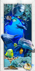 3D Dophins Fish Under Sea Coral Corridor Entrance Wall Mural Decals Art Prints Wallpaper 014