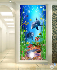 3D Dophins Pearl Shell Fish Corridor Entrance Wall Mural Decals Art Prints Wallpaper 015