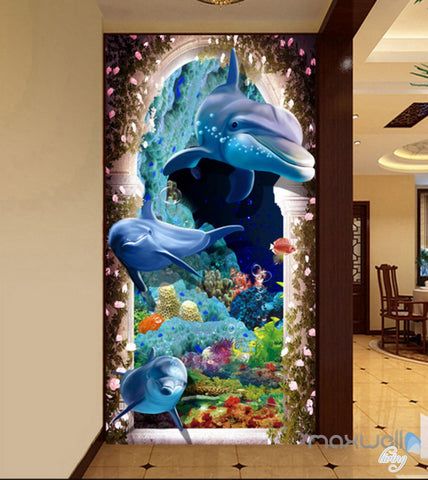 Image of 3D Dophins Hole Coral Corridor Entrance Wall Mural Decals Art Prints Wallpaper 016