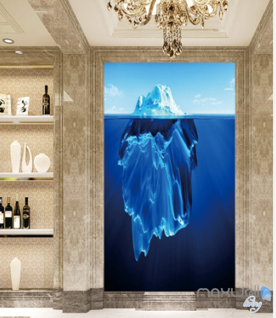 3D Iceberg Blue Ocean Corridor Entrance Wall Mural Decals Art Print Wallpaper 018