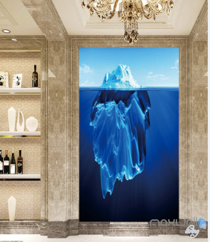 Image of 3D Iceberg Blue Ocean Corridor Entrance Wall Mural Decals Art Print Wallpaper 018