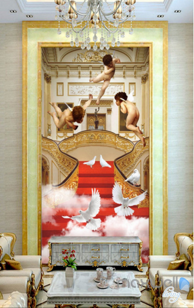 3D Classic Angel Bird Cloud Stair Corridor Entrance Wall Mural Decals Art Print Wallpaper 023