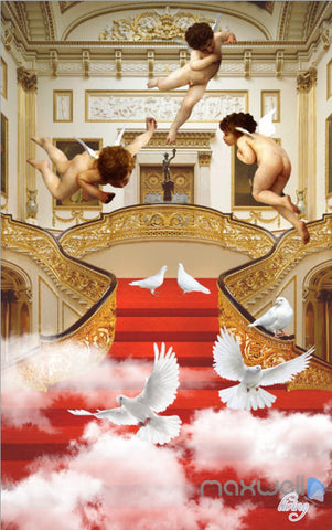 Image of 3D Classic Angel Bird Cloud Stair Corridor Entrance Wall Mural Decals Art Print Wallpaper 023