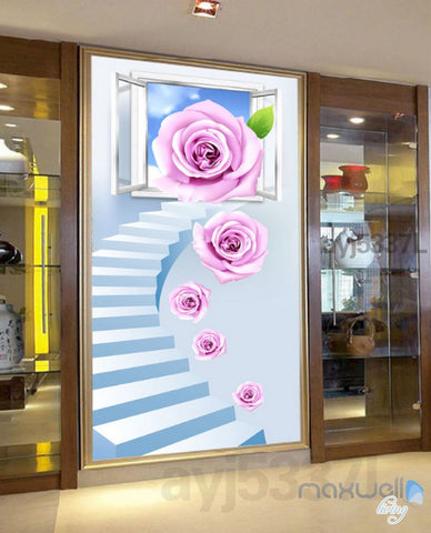 Image of 3D Rose Stair Window Corridor Entrance Wall Mural Decals Art Print Wallpaper 026