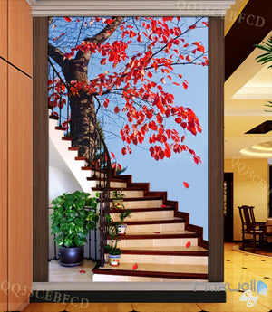 3D Maple Tree Stair Corridor Entrance Wall Mural Decals Art Print Wallpaper 027