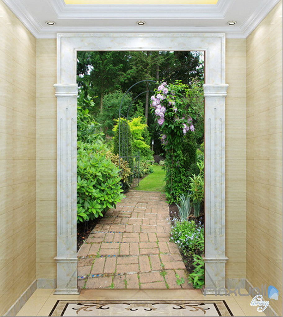 3D Garden lane Corridor Entrance Wall Mural Decals Art Print Wallpaper 028