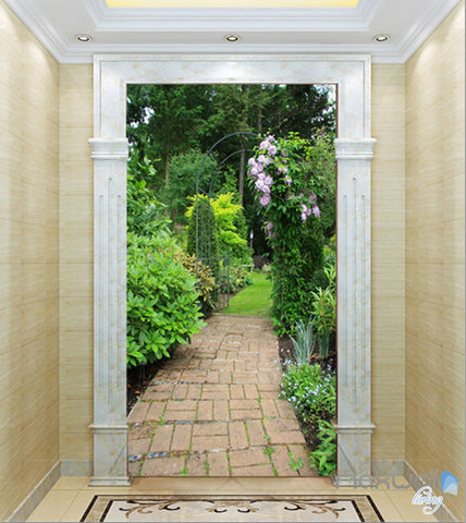 Image of 3D Garden lane Corridor Entrance Wall Mural Decals Art Print Wallpaper 028