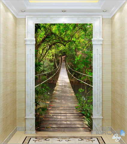 3D Bridge Tree Forest Corridor Entrance Wall Mural Decals Art Print Wallpaper 029