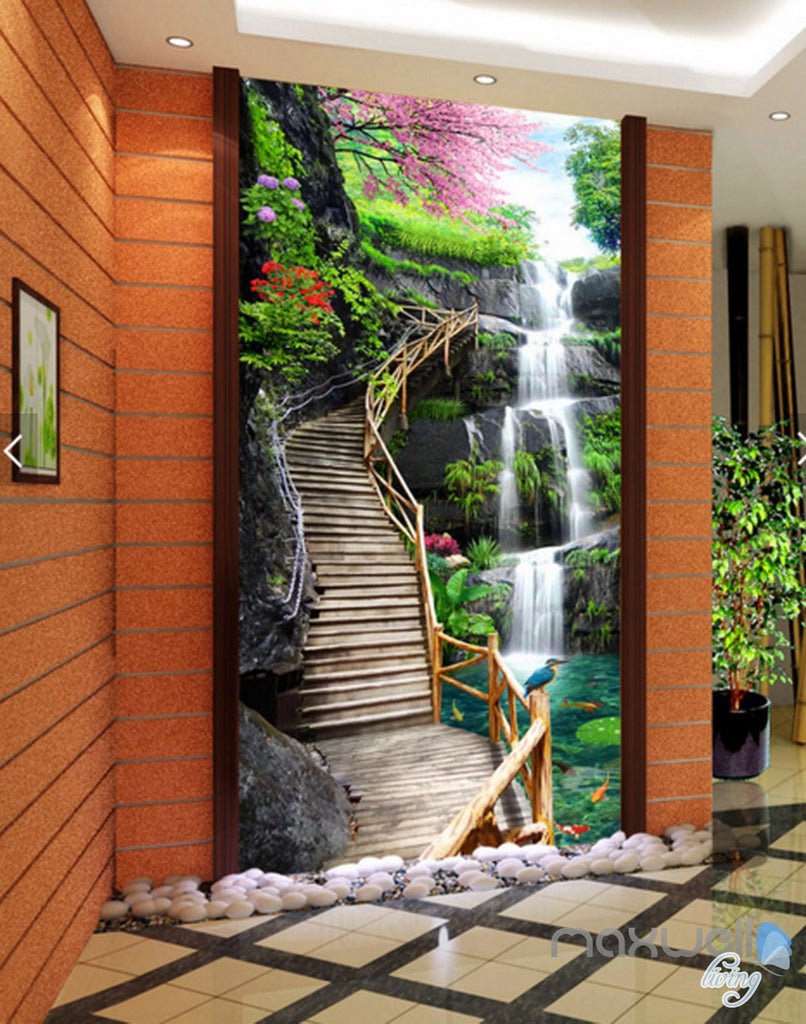 3D Fall Cherry Blossom Stairs Corridor Entrance Wall Mural Decals Art Print Wallpaper 030