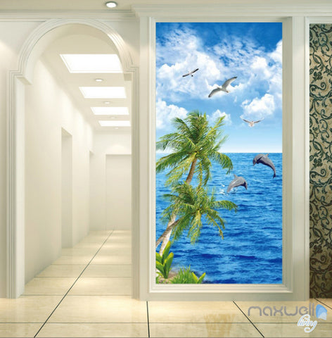 Image of 3D Palm Tree Dophin Bird Sea Corridor Entrance Wall Mural Decals Art Print Wallpaper 031
