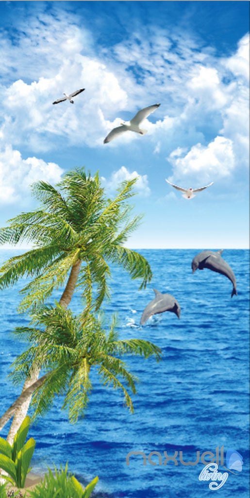 3D Palm Tree Dophin Bird Sea Corridor Entrance Wall Mural Decals Art Print Wallpaper 031