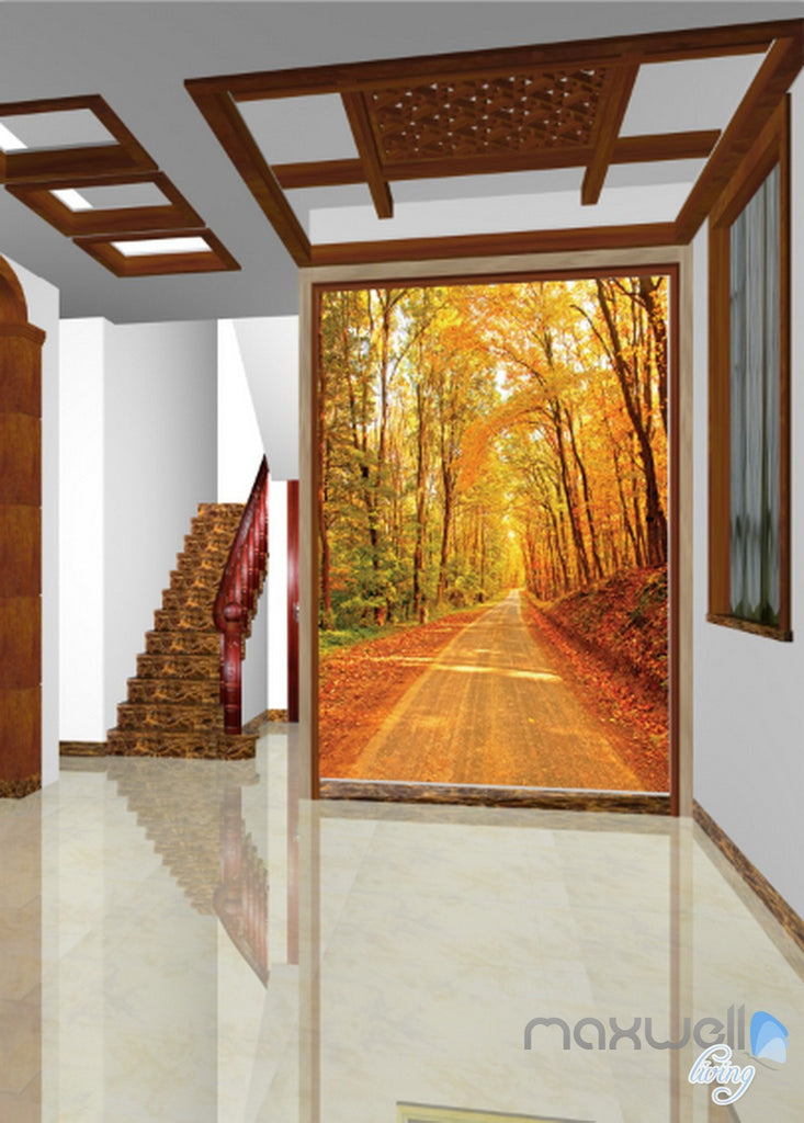 3D Autumn Forest Lane Corridor Entrance Wall Mural Decals Art Prints Wallpaper 032