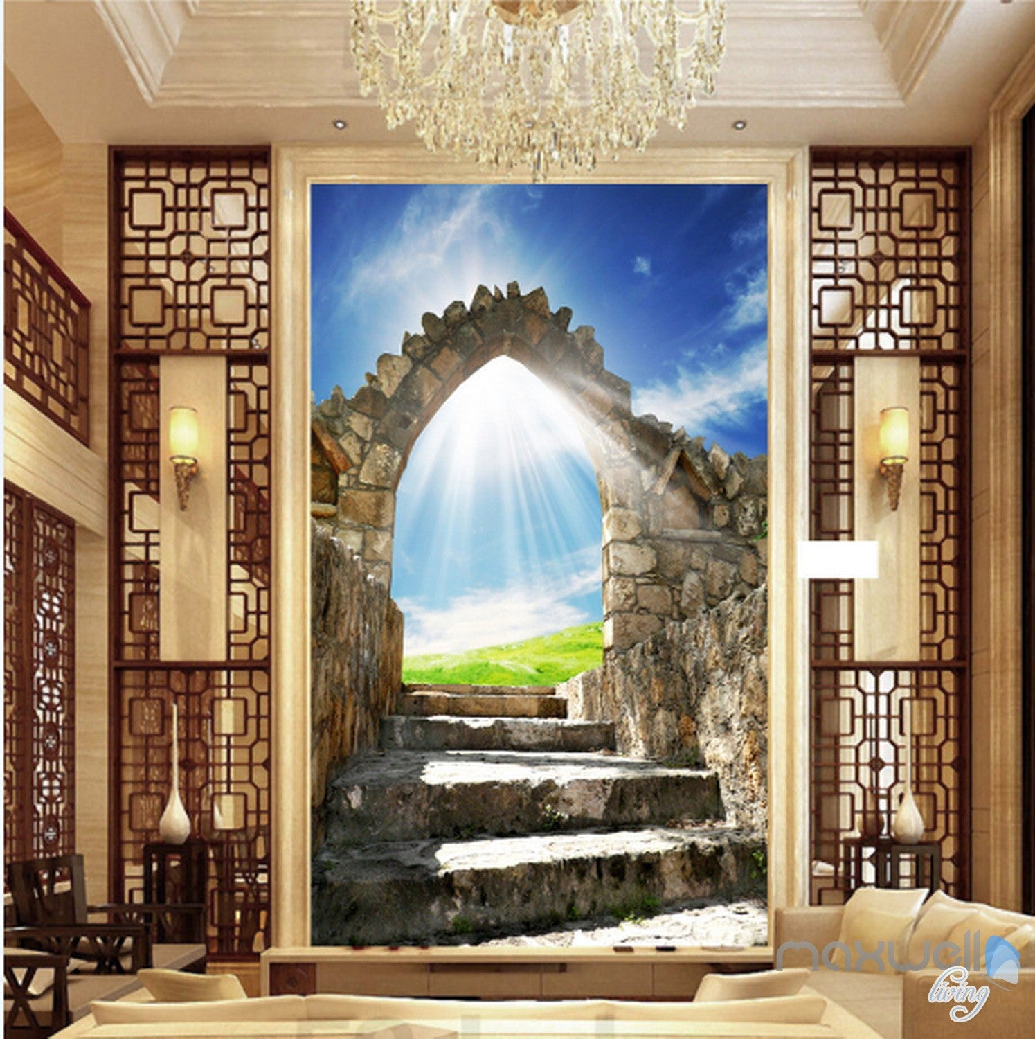 Great 3D Stone Arch Sunshine Corridor Entrance Wall Mural Decals Art Print  Wallpaper 036