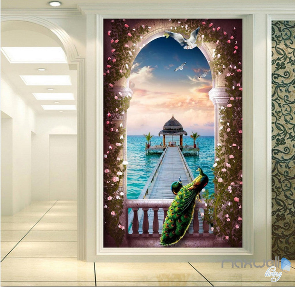 3d Balcony Peacock Window Pier Sea Corridor Entrance Wall Mural