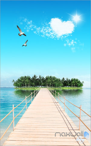 Image of 3D Island Long Jetty Sun Corridor Entrance Wall Mural Decals Art Print Wallpaper 038