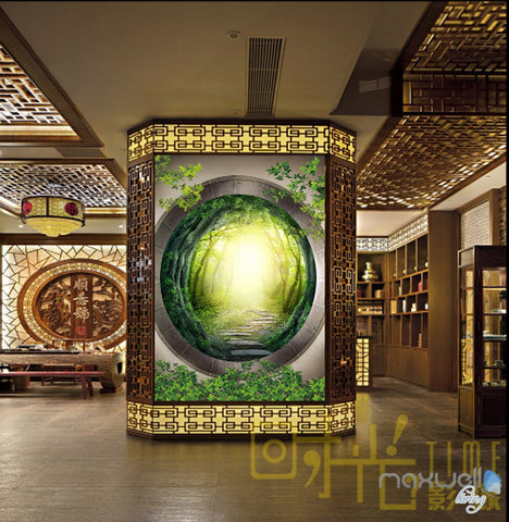 Image of 3D Mystery Forest Window Corridor Entrance Wall Mural Decals Art Print Wallpaper 039