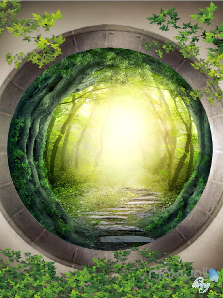 3D Mystery Forest Window Corridor Entrance Wall Mural Decals Art Print Wallpaper 039