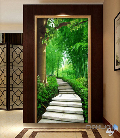 Image of 3D Forest Lane Tree Corridor Entrance Wall Mural Decals Art Print Wallpaper 040