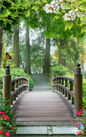 Image of 3D Birdge Tree Forest Corridor Entrance Wall Mural Decals Art Print Wallpaper 042